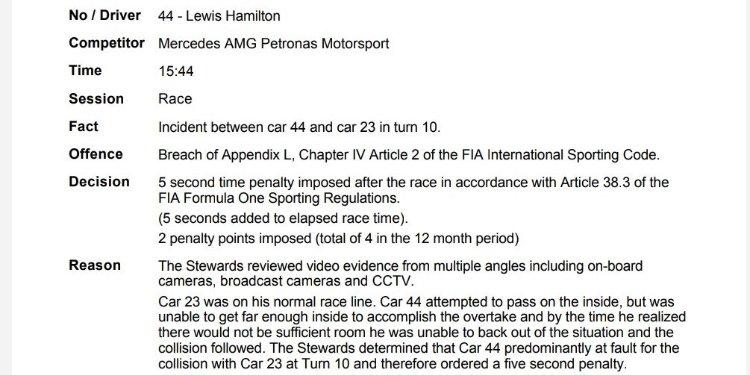 5 secondi di penalità per Hamilton