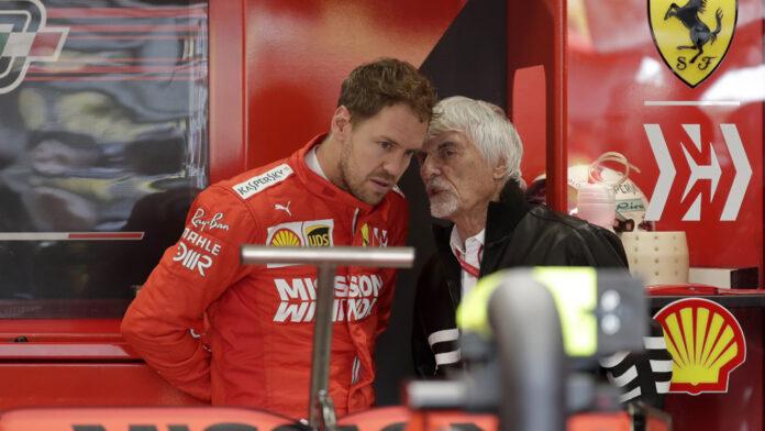 Sebastian Vettel a colloquio con Bernie Ecclestone