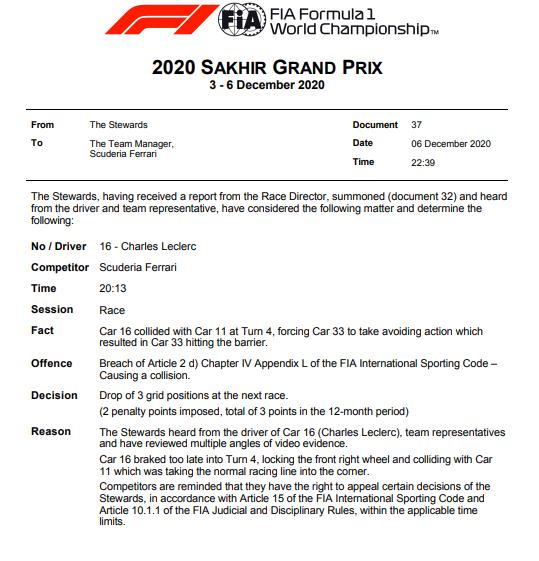 Leclerc riceve una penalità per Abu Dhabi, Vettel si limita al ''no comment''